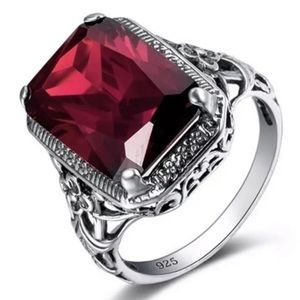 NEW VINTAGE RED RUBY STERLING SILVER RING